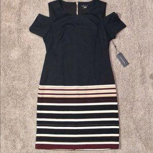New Tommy Hilfiger cold shoulder navy strip dress
